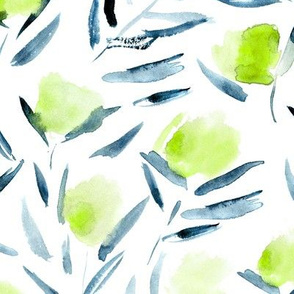 Green and indigo watercolor cotton flowers ★ painted florals for modern home decor, bedding, nursery
