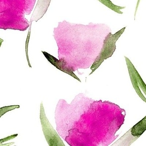 Fuchsia cotton flowers ★ watercolor ★ large scale painted florals for modern nursery, home decor, bedding