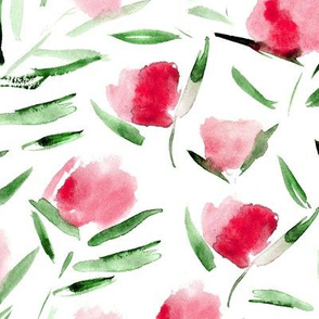 Cotton flowers in raspberry pink ★ watercolor ruby florals for modern home, bedding, nursery