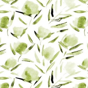 Olive green watercolor cotton flowers ★ khaki florals for modern home decor, bedding, nursery