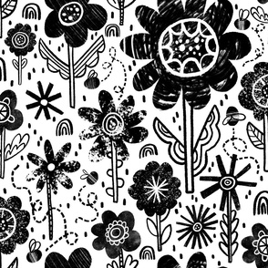 Painterly Black and White Florals