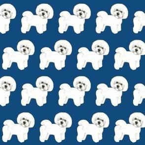 Bichon Frise fabric on navy