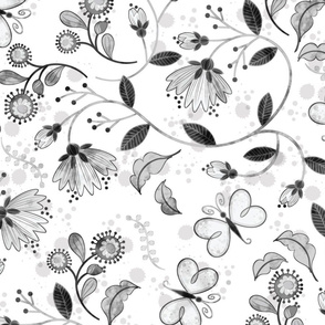 Butterfly Chintz-grayscale-**large**