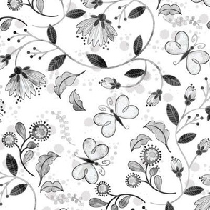 Butterfly Chintz-grayscale **small**