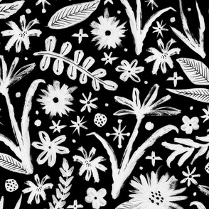 brushy black and white floral