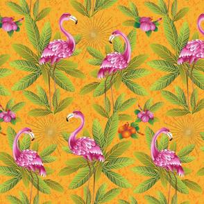 Pink Garden Flamingoes Preening-Medium