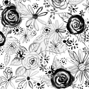 Watercolor Floral // Black & White