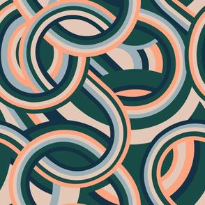 Modernist Swirl - Forest Green