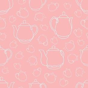 Teapot Line Art White on Pink