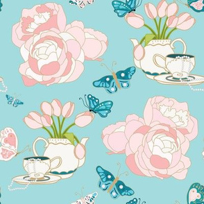 Teapots, Peonies and Butterflys on Blue