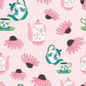 Tea Pots and Echinacea Flowers