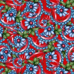 APRON FLOWERS BLUE ON RED 19.110103 Victoria Taylor