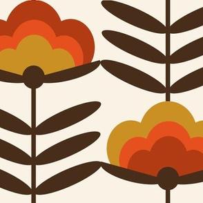 XL -  - 70s Happy Flower - 70s flower, 70s floral, 70s wallpaper, 70s fabric, 70s design - rust