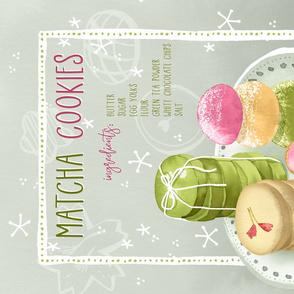Green Tea Cookies Recipe Tea Towel / Gray