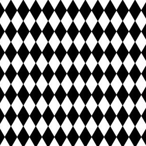 "Harlequin Diamonds ~ Black & White ~ Wee ~ 1/4"" width"