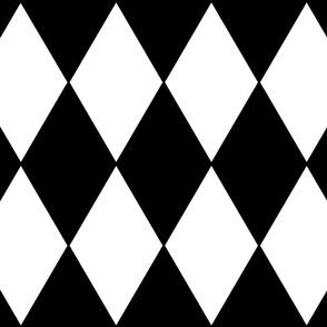 """Harlequin Diamonds ~ Black & White ~ Jumbo ~ 8"""" Width"""