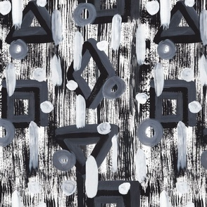 Brush strokes black & white textured geo paint large scale Wallpaper