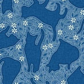 Shibori Cats - Blue