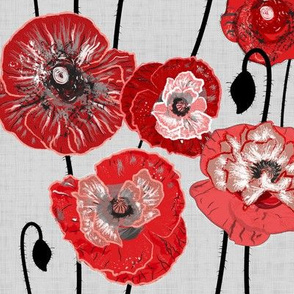 Painterly Colored Poppies
