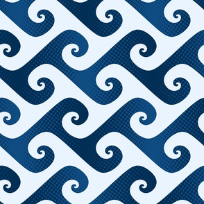 "6"" halftone spiral waves in classic blue"