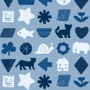 shapes and things - classic blue