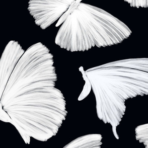 Painterly Butterflies, Black and White