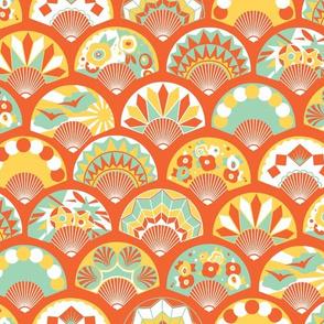 Art Deco Flapper Fans - Sunshine