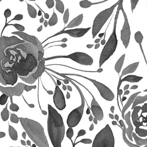 Traditional floral: roses and leaves