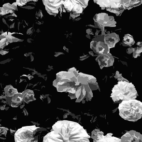 Black and White Moody Painterly Roses