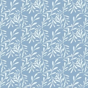 A Drift of Ice Blue Leaves on Slate Blue - Small Scale