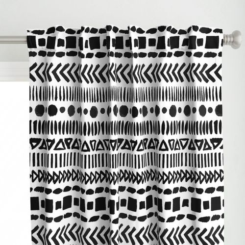 Black and White Geometric Shapes Doodle Stripes