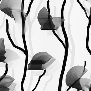 Modern Vine Simple -- Black White Slate Grey Minimalist Design -- Large Scale -- Wallpaper, Home Decor