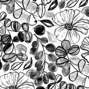 Black & White Painted Floral - Medium Version