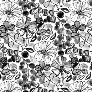 Black & White Painted Floral - Small Version