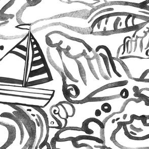 Waves & Sailboats - Black and White