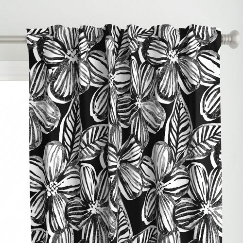 Bold Textured Black and White Linework Floral