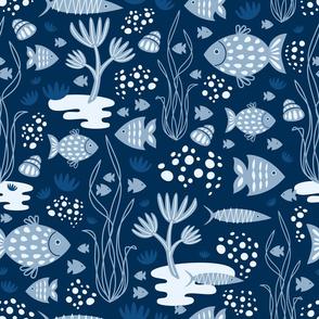 underwater retro style - dark blue