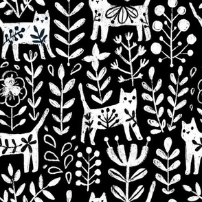 Life is better with a cat. Black and white floral kitties and flowers. Pet animals design.
