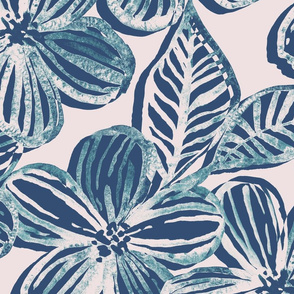Bold Textured Teal and Grey Linework Floral
