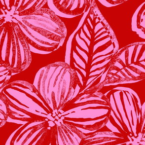 Bold Textured Cherry Red and Pink Linework Floral