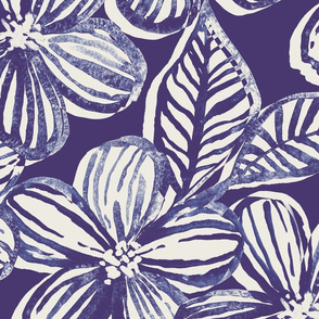 Bold Textured Monochrome Indigo Linework Floral