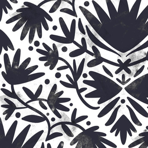 Black and white painted florals