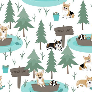 "12"" cute welsh cardigan corgis are fishing in forest lake painted sport design corgi lovers will adore this fabric -white"