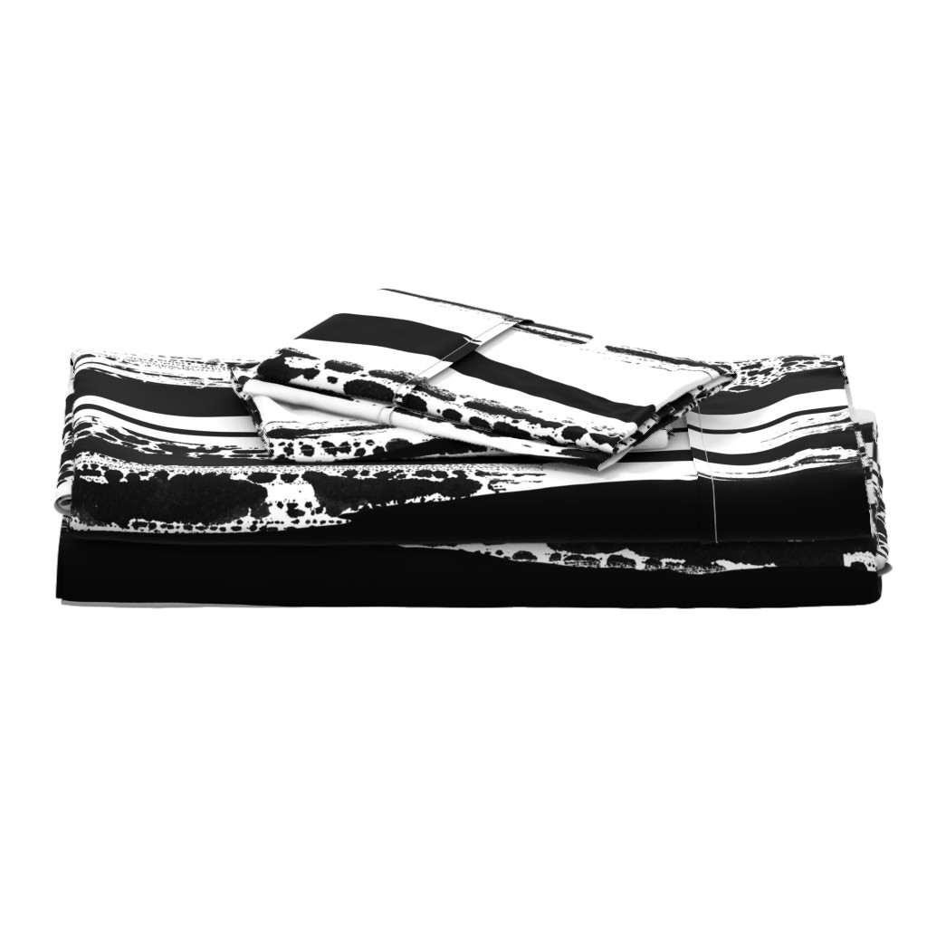 Langshan Full Bed Set featuring Black and white brush strokes duvet cover by my_muse