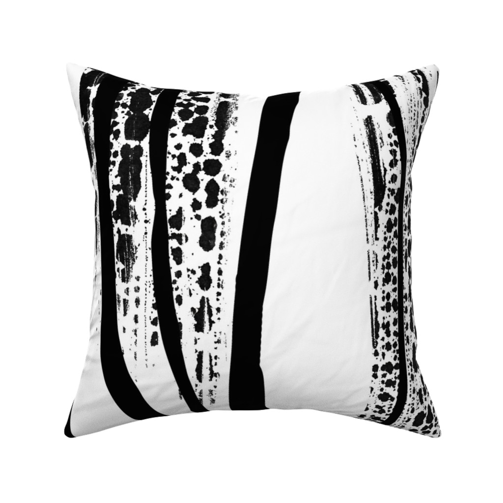 Catalan Throw Pillow featuring Black and white brush strokes duvet cover by my_muse