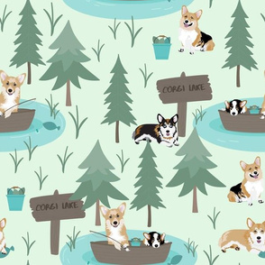 "12"" cute welsh cardigan corgis are fishing in forest lake painted sport design corgi lovers will adore this fabric -white -green"