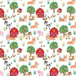 "4"" cute welsh cardigan corgis are on the farm with lot animals design corgi lovers will adore this fabric -white"