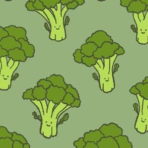 Happy Broccoli Trees on Green