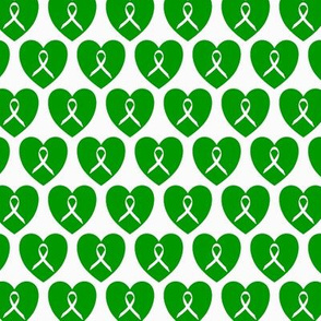 Awareness ribbons in green hearts for genetic disorders