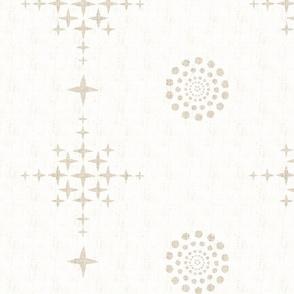 Southwest Circles & Crosses-XLarge-Beige On Ecru